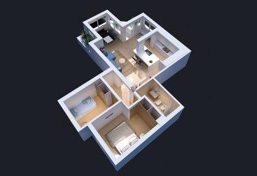 Plano 3D de una vivienda