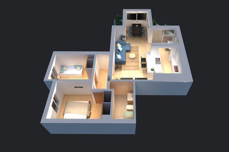 Plano 3D de vivienda en Marbella