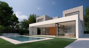 Render Exterior de Villa con Piscina