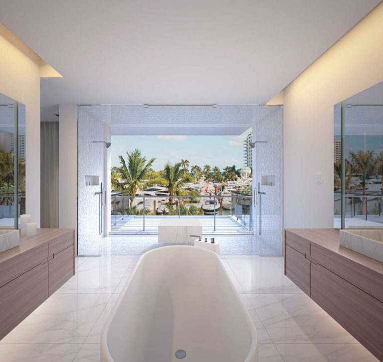 Render Interior de Baño Principal