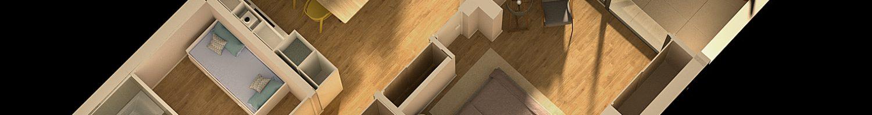 Plano 3D de vivienda en Marbella Puerto Banús